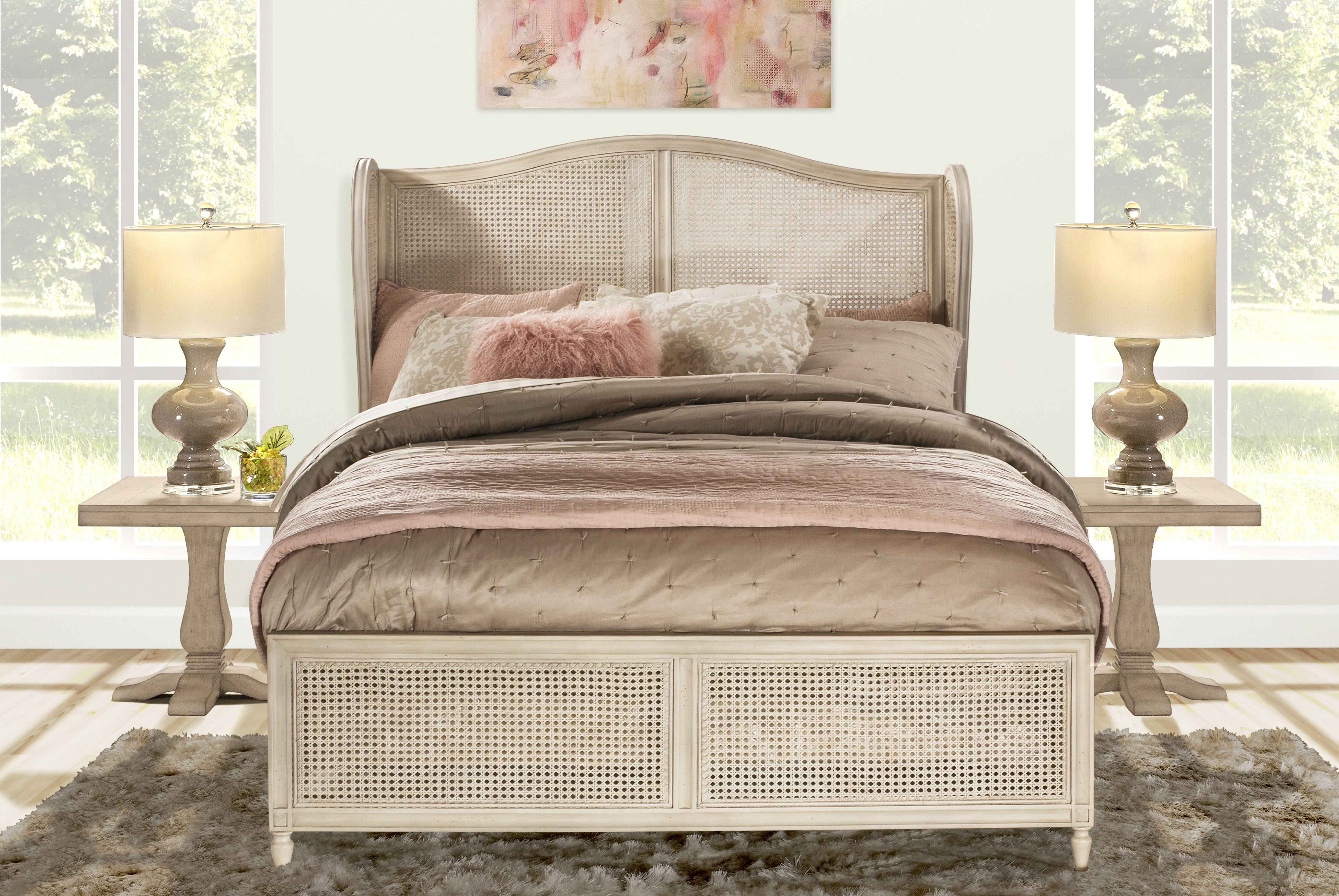 Dominique French Country Youth Bedroom Full Bed Curved Molding Headboard White Home Garden Kids Teens Home Items