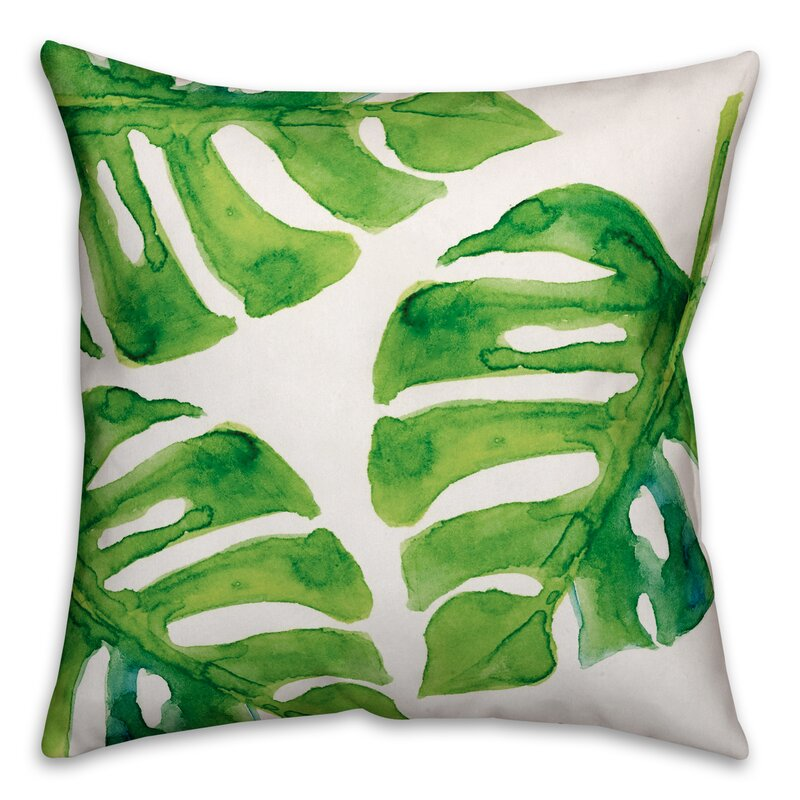 Palm Cove Watercolor Leaf Throw Pillow