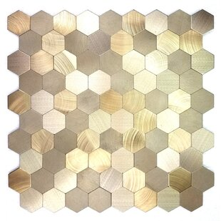 Enchanting Hexagon Wall Backsplash 12 X L And Stick Metal Mosaic Tile In Gold