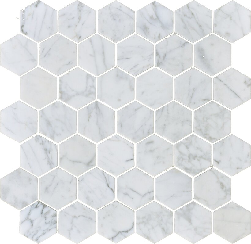 Carrara Hexagon Mosaic Tile Migrant Resource Network - 2 carrara marble hexagon floors