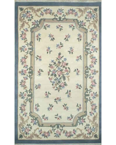 French Country Aubusson Ivory/Blue Area Rug