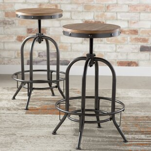 Goethe Adjustable Height Swivel Bar Stool (Set of 2)