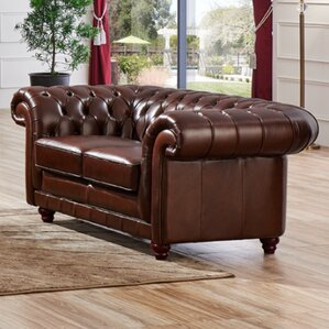 Noci Design Leather Chesterfield Loveseat Image