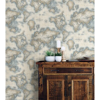 Brewster home fashions seaside living mercator 33 x 205 world map seaside living mercator 33 x 205 world map wallpaper roll gumiabroncs Image collections