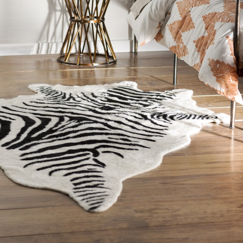 Hermosa Beach Hand-Tufted Faux Cowhide Zebra Black Area