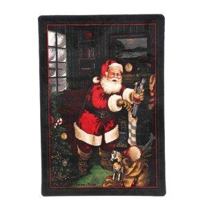 Winter Seasonal Santa's Visit Christmas Area Rug