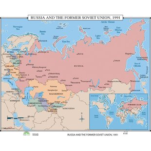 world history wall maps russia the former soviet union 1991