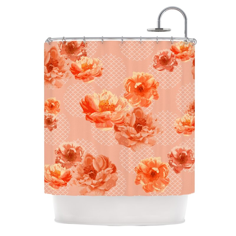 East Urban Home Lace Peony Shower Curtain