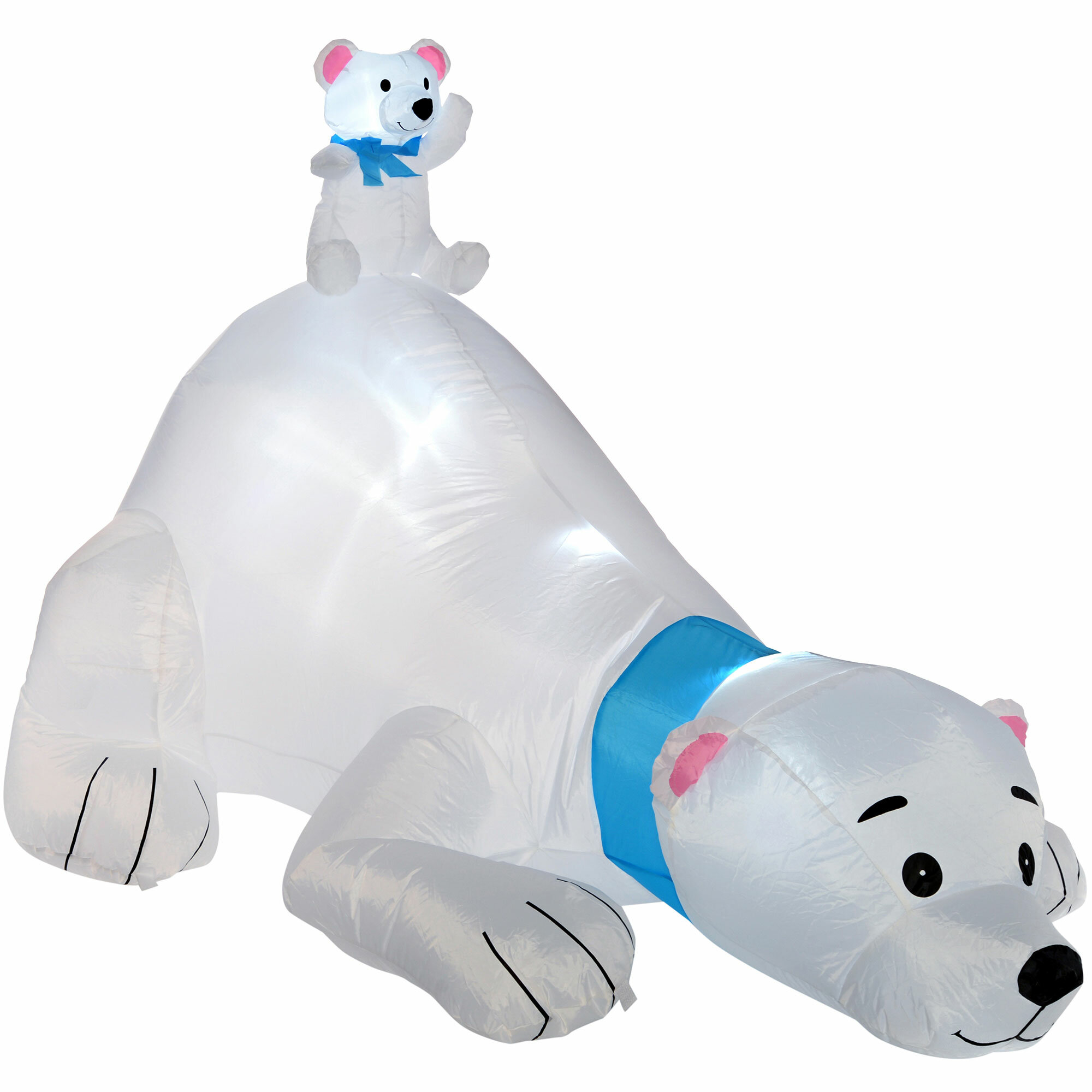 the seasonal aisle 180cm pre lit polar bear inflatable christmas decoration with led light and fan wayfaircouk - Polar Bear Inflatable Christmas Decorations