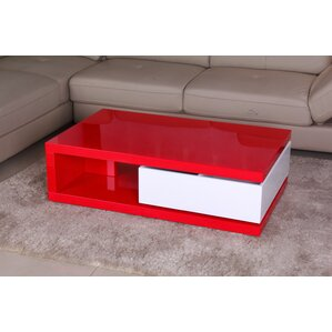 Glossy Functional Coffee Table with Storage by Fox Hill Trading