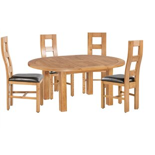 Carbajal 5 Piece Extendable Solid Wood Dining Set