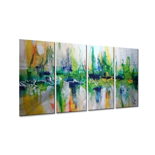 39emerald city39 by skye taylor 4 piece painting print for Best brand of paint for kitchen cabinets with wall art set of 5