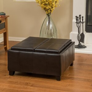 brooke leather ottoman - Brown Leather Ottoman