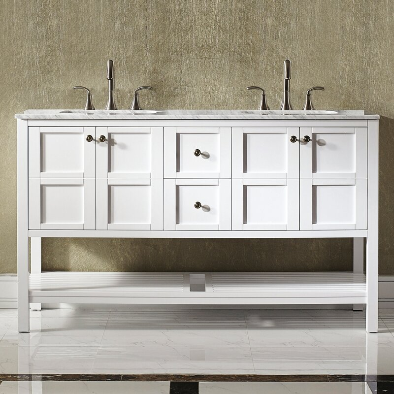 Caldwell 60  Double Bathroom Vanity Set Beachcrest Home Reviews