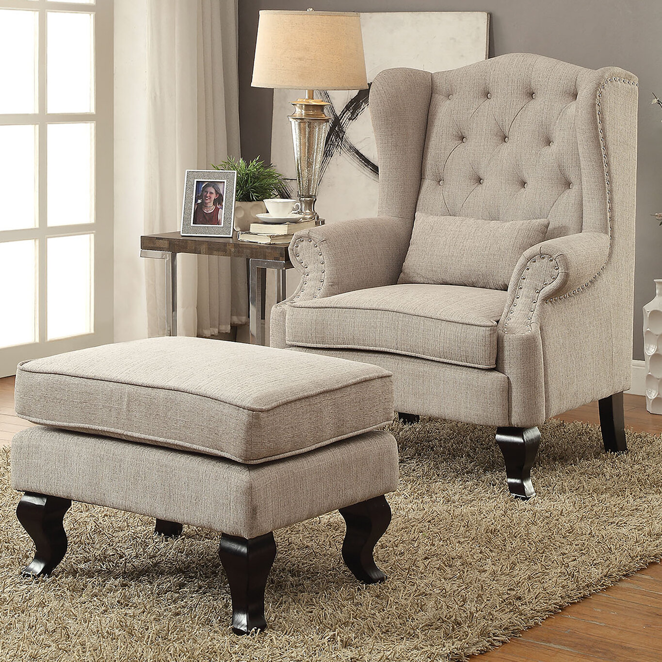 Au0026J Homes Studio Willow Wingback Chair And Ottoman | Wayfair
