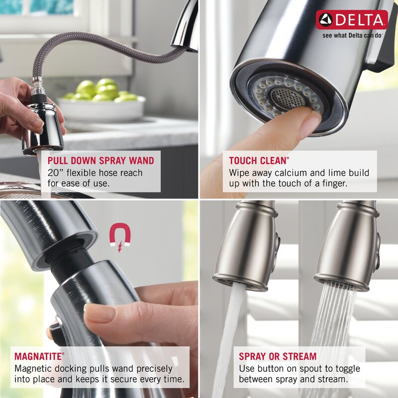 Delta Cassidy Single Handle Pull Down Kitchen Faucet With Spray .