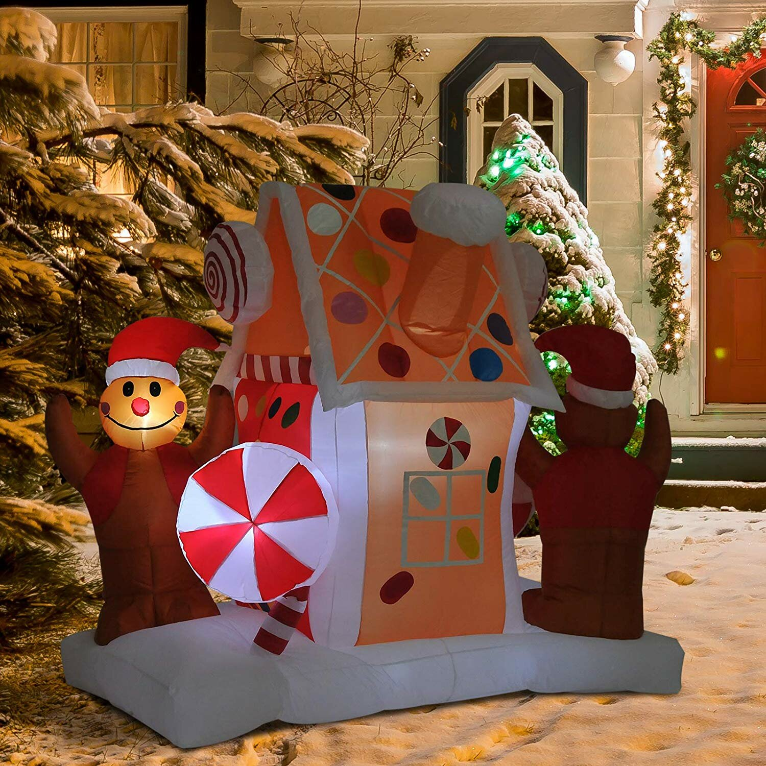 The Holiday Aisle Outdoor Christmas Gingerbread House Inflatable