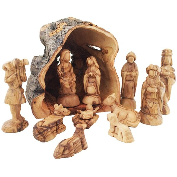 CarversArt Olive Wood Rustic Nativity Set With Olive Tree Trunk Stable U0026  Reviews | Wayfair
