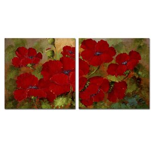 Red Poppies Wall Art Set