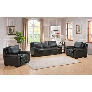 Devry 3 Piece Leather Living Room Set by World Menagerie