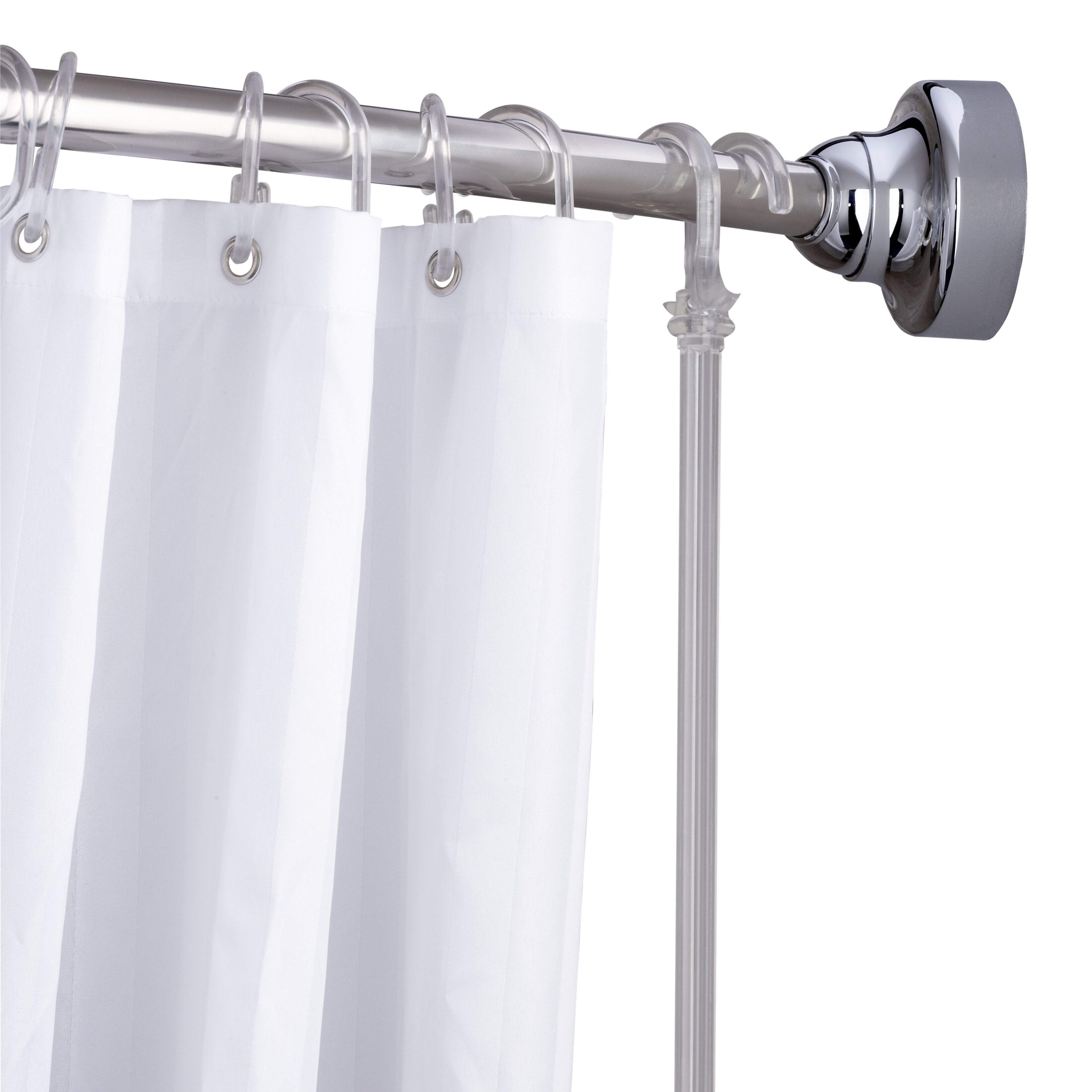 Croydex Space Saver 72 Adjustable Curved Fixed Shower Curtain Rod