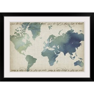World map framed art youll love wayfair watercolor world map grace popp graphic art print gumiabroncs Image collections