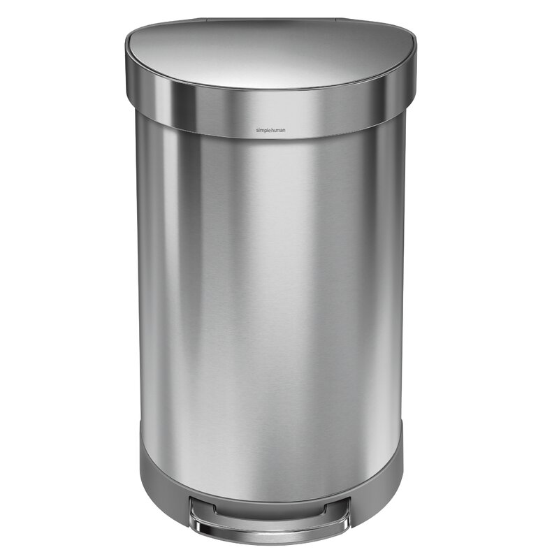 Simplehuman 11 9 Gallon Semi Round Step Trash Can Brushed