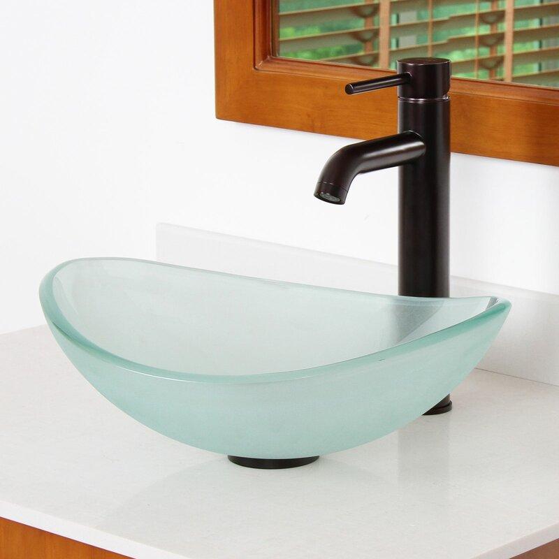 Bathroom Sinks Oval elite mini tempered glass boat oval vessel bathroom sink & reviews