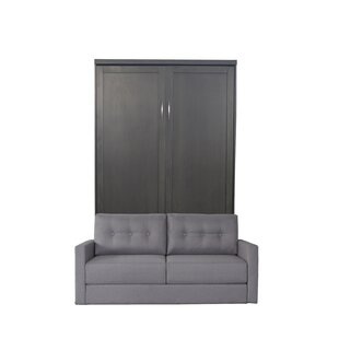 Andrew Queen Size Murphy Bed With Sofa In Metro Grey Finish And Scotts Highland Fabric