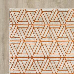 Ginsberg Light Gray/Burnt Orange Area Rug