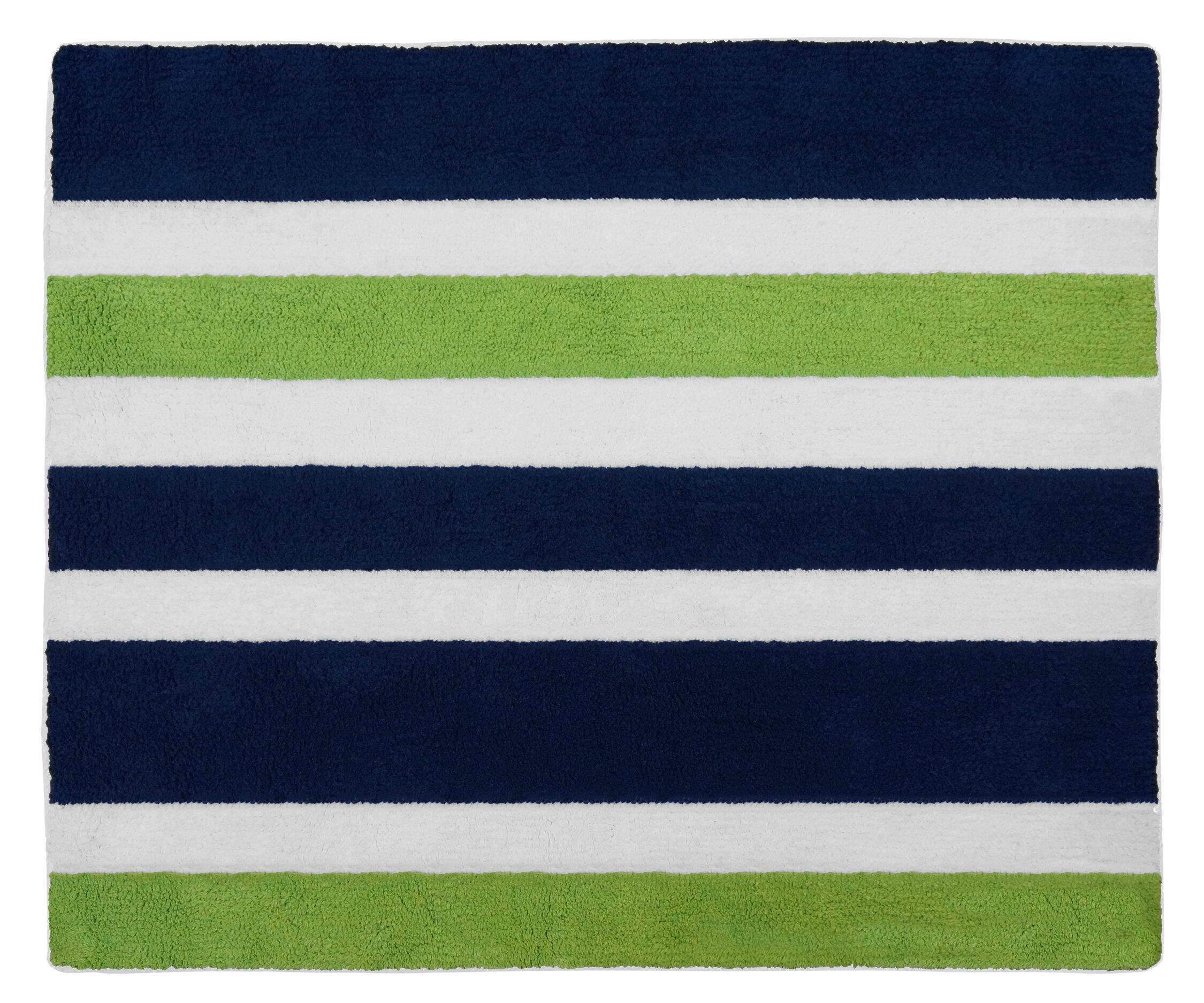 Sweet Jojo Designs Navy Blue And Lime Green Stripe Bath Rug Reviews Wayfair