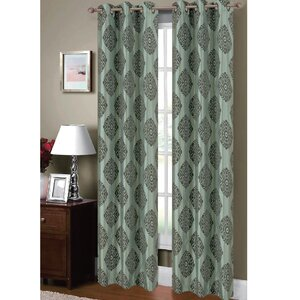 Suzani Damask Sheer Grommet Curtain Panels (Set of 2)