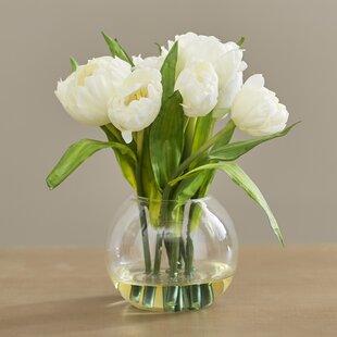 White tulip arrangement wayfair tulips arrangement with vase mightylinksfo