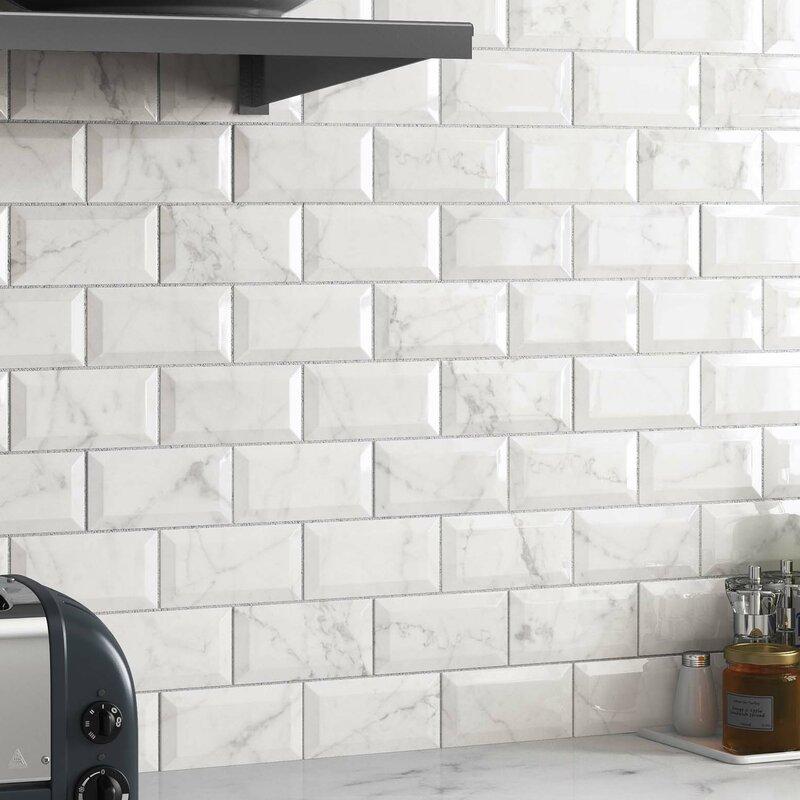 Elitetile Karra Carrara 3 X 6 Ceramic Subway Tile In Glossy Metro