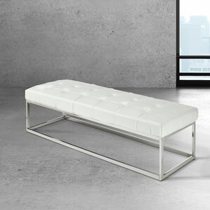 Arely Stainless Steel ButtonTufted Fuax Leather Bench by Wade Logan