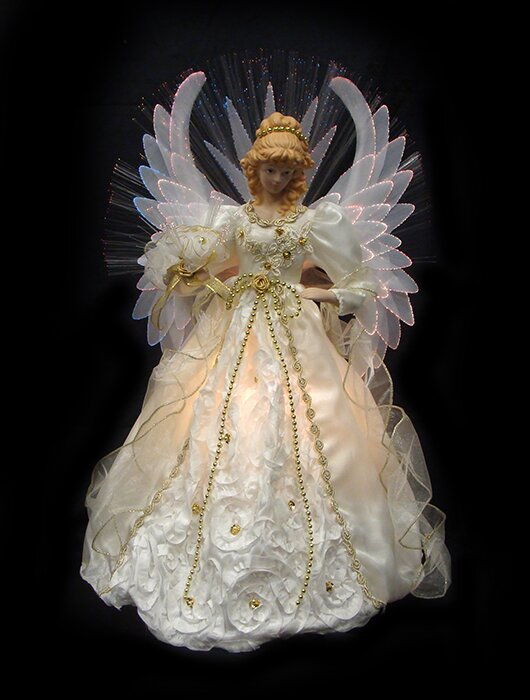 Northlight Lighted Fiber Optic Angel Christmas Tree Topper  - Christmas Tree Angel Toppers