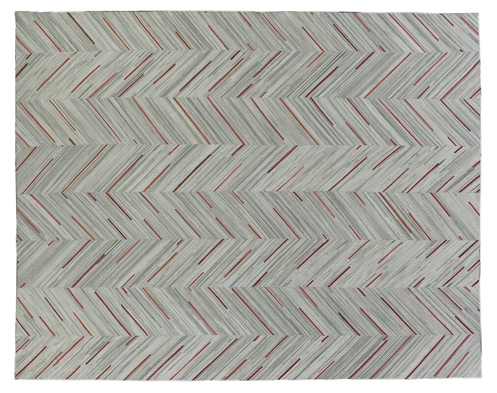 Natural Hide Leather Hand-Woven Gray/Red Area Rug