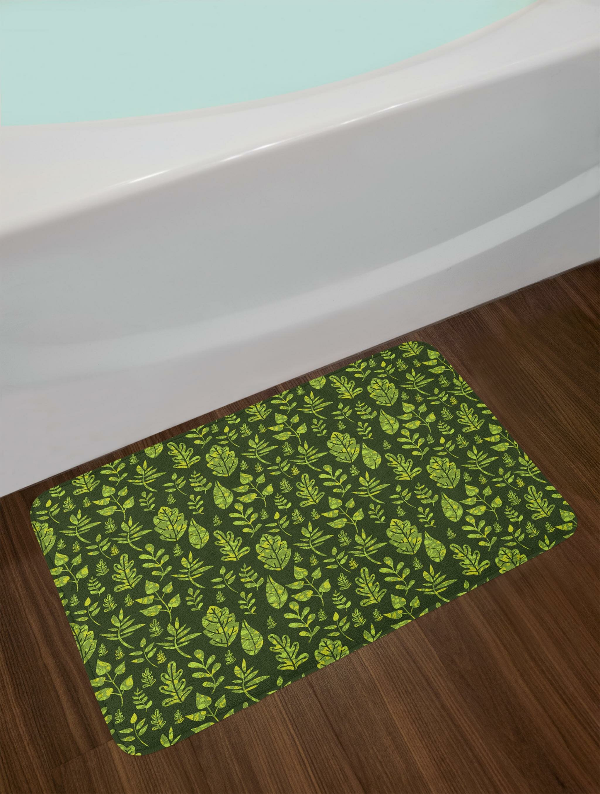 Patterned Green Leaves Nature Inspired Composition Fresh Trees Woodland Bath Rug