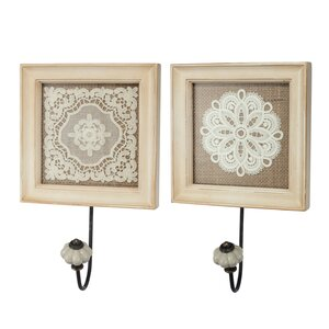 2 Piece Vintage Lace Wall Hook Set