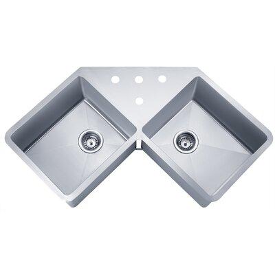 """Undermount Corner Kitchen Sink ruvati gravena 43.75"""" x 23"""" undermount corner double bowl kitchen"""