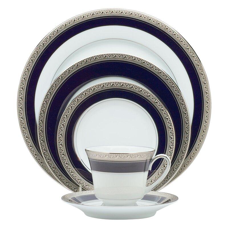 Noritake Crestwood Cobalt Platinum 20 Piece Dinnerware Set