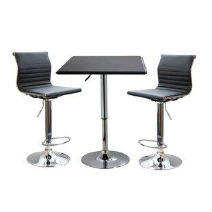 Baseeth Contemporary 3 Piece Adjustable Pub Table Set