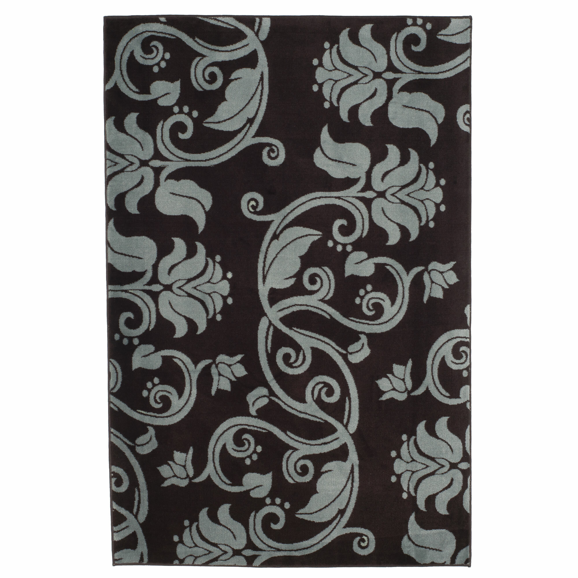 Lavish Home Floral Scroll Brown Blue Area Rug Reviews Wayfair