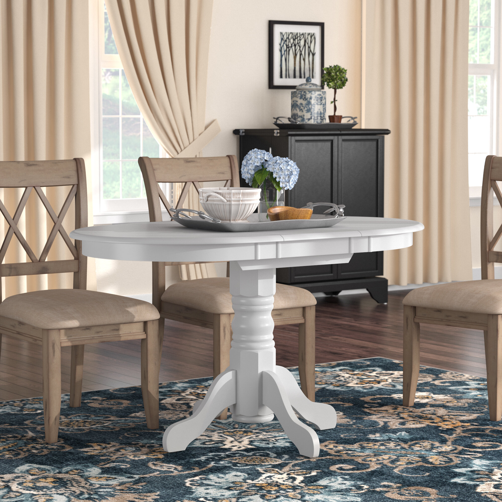 1923c75530 Three Posts Liggett Classic Extendable Dining Table   Reviews