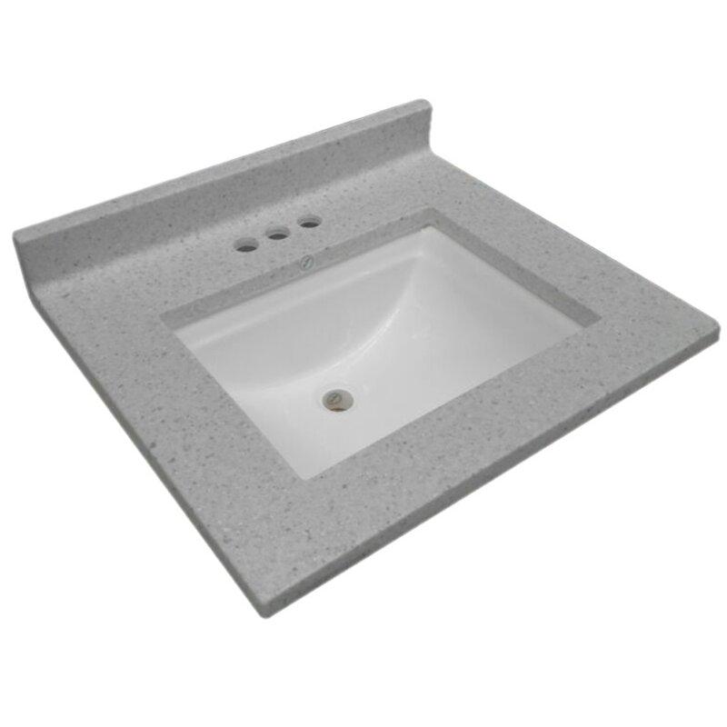 cultured wave bowl 25 single bathroom vanity top - Bathroom Vanity Top