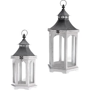 Distressed Outdoor Hanging Wood Lantern (Set of 2)