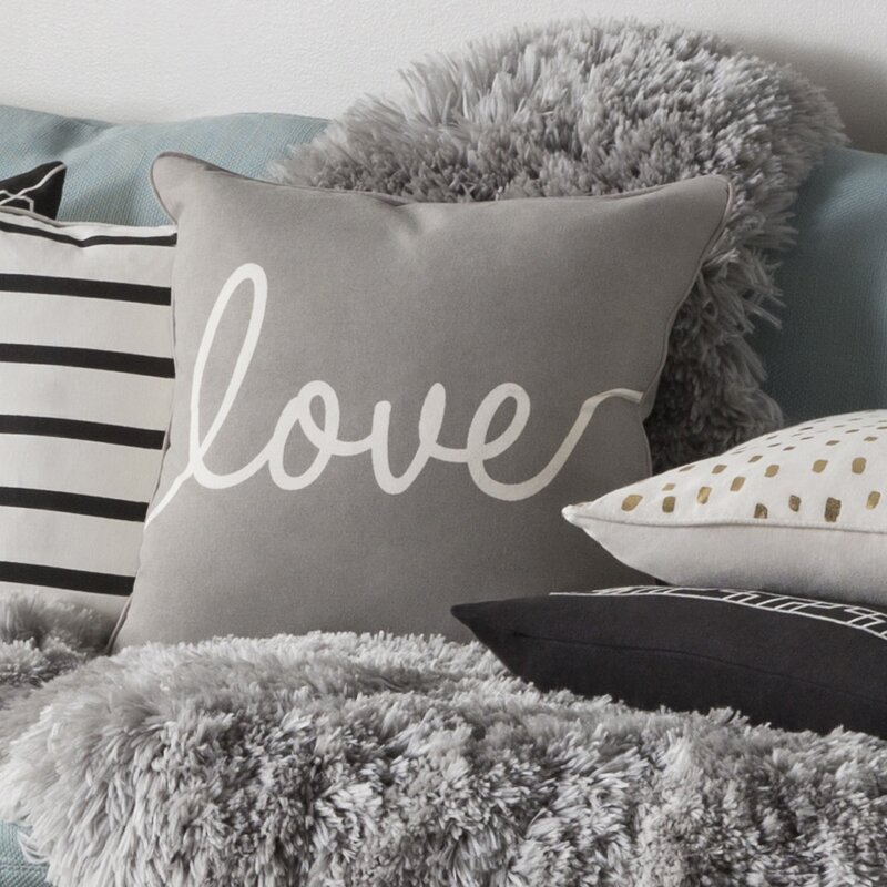 Carnell Romantic Love Cotton Throw Pillow Cover. Black/ White ...