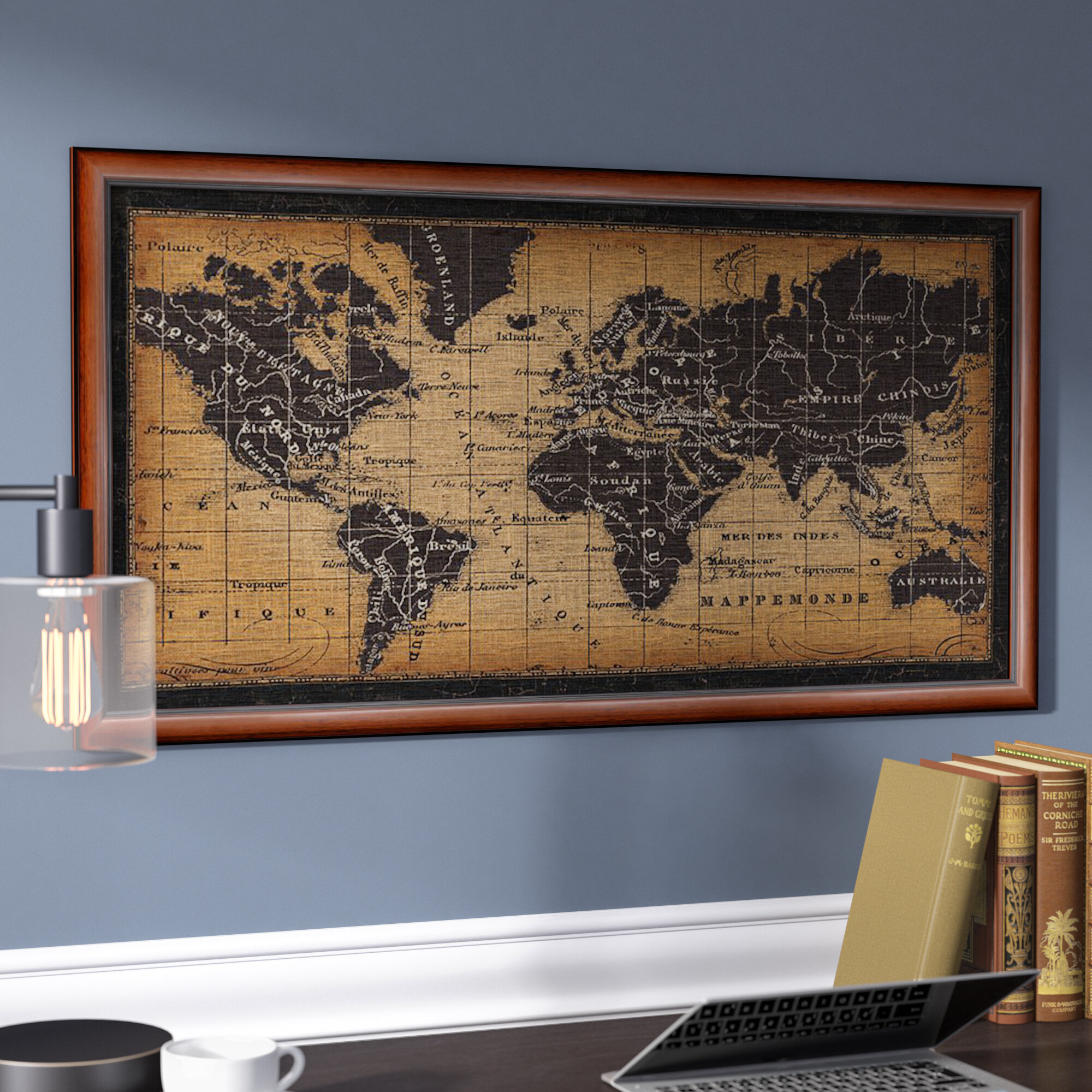 Darby Home Co Old World Map Framed Graphic Art Wayfair