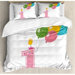 1st Birthday Decorations Toddler Party Candle With Balloons Duvet Set