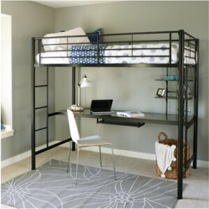 Belfort Twin Loft Bed with Wood Workstation by Loon Peak